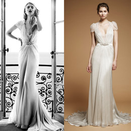 Wholesale Jenny Packham Aspen Sheath Chiffon Wedding Gowns with Cap Sleeve and Deep V Neck and Beaded Band Dhyz