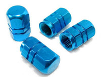 Wholesale 4pcs in a set Sets a Aluminium dice Bike Car Tyre Valve Dust Cap Covers air cap red gold silver blue