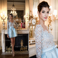 Wholesale 2014 zuhair murad Dresses Sexy V Neck Long Sleeve Lace Pleated Satin Ball Gown Mini Short Prom Dresses Sheer See Through Cocktail Gowns BO