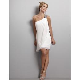 Wholesale 2013 Discount One Shoulder Cheap Short Beach Wedding Dresses Mini Chiffon Wedding Bridal Dresses Gown
