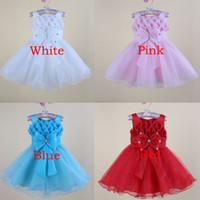 Wholesale 2014 Girl Party Dress Baby Pink Princess Dress Children Clothing Girls Tutu Dresses Kids Bow Dress Children Birthday Christmas Gifts Color
