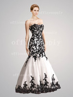 A-Line drop waist - 2012 A Line White and Black Lace Appliques Wedding Dresses Gown with Dropped Waist AB