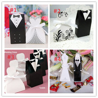 Wholesale 25 Pairs Wedding Dress Tuxedo Fovor Boxes Bride Groom Ribbon Favor Candy Holder Box