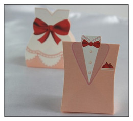 Wholesale 100pcs Pink Tuxedo Dress Wedding Party Favors Candy Boxes Gifts Bride Groom