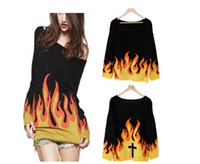 Women christmas jumpers - 2014 Fashion Women s Hip Hop Warm Flame Cross Jumper Sweater Knit Knitwear Winter New