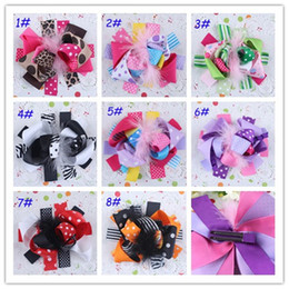 Baby Feather Hair Clips Girl Bowknot Flower Hairpin Children Hair Accessories Hair Bow Kids Feather Flower Barrette Photography props 20pcs