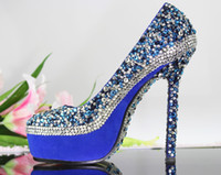 Wholesale ROYAL BLUE wedding shoes LADIES High Heel Crystal platform Pumps for Bridal photo