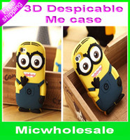 Wholesale For iphone4 iphone5 g D cases Cute Cartoon Despicable Me Minion Silicone Case Cover For iphone S Samsung galaxy S3 S4 S5 note