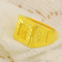 Wholesale women men k gold plated rings blessed fortune gold rings square finger accessories wedding engagement rings