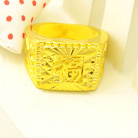 Wholesale hot selling men women k yellow gold plated ring finger jewelry fashion design blessing rings wedding engagement rings