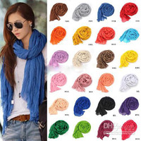 Cheap Promotion New Pure Linen Fold Super Long Big Shawl Women Sexy Fashion Cheap Multicolor Punk Scarf Scarves Wraps Free Shipping