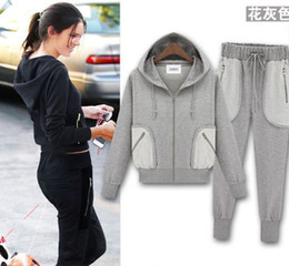Wholesale Fashion women sportswear hooded casual sports suit jacket coat tracksuits Coat Pants Yoga Suit outwear black gray Christmas Gift