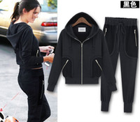 Women Long Sleeve Regular New Fashion women sportswear hooded casual sports suit jacket coat tracksuits Coat+Pants 2pcs Yoga Suit outwear black gray Christmas Gift
