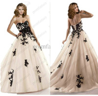 Wholesale 2016 Gothic Beaded Black Lace Appliques Corset Tulle Ball Gown Wedding Dresses Flower Waist Chic Cheap Beach Bridal Gowns