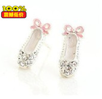 Dangle & Chandelier other China-Miao Earring3343 Sideng Korean jewelry wholesale full diamond earrings cute delicate ballet shoes bow earrings