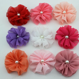 Wholesale mini Ballerina Chiffon Flower with pearl for Hair clips accessories Fabric flower clothing hat shoes flower