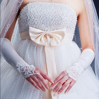 Wholesale Fingerless Satin Lace Long Wedding Gloves Bridal Stretch Prom Opera Beaded Party Drop shipping