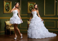 Wholesale 2014 New Elegant Detachable Two Pieces Beautiful Sweetheart Flower Garden Bridal Gowns A line Ruffles Organza Cheap Wedding Dresses