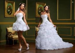 Wholesale 2014 New Elegant Detachable Two Pieces Beautiful Sweetheart Flower Garden Bridal Gowns A line Ruffles Organza Cheap Wedding Dresses