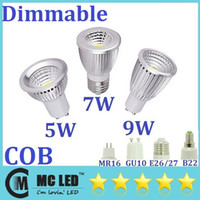 Wholesale High Bright W W W COB Led Bulbs Light Angle GU10 E27 E26 E14 MR16 Warm Cool White Led Spotlights Lamp Dimmable V V