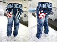 Wholesale Hot selling Children s clothing baby boy s Jeans hildren s Jeans vintage jean classic fashion star stripe jeans