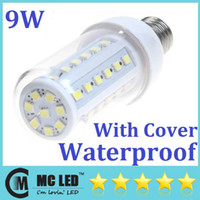 Wholesale E27 B22 E14 W LED Corn Light Bulb With Transparent Cover SMD5050 Warm Pure White Led Lamp Angle Replacement W Fluorescent Lamp