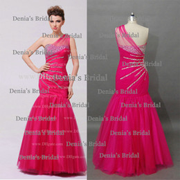 Wholesale Sexy Fuchsia Prom Dresses Real Images Sheer Ruched One Shoulder with Star Beaded at Side Waist Mermaid Tulle Prom Gowns