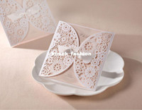 Wholesale 50Sets Laser Cut Wedding invitations Cards Cards Envelopes Seals Free Printable and
