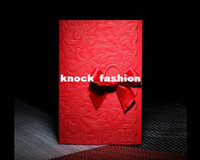 Cheap 50Sets Red Ribbons Wedding invitations Cards+50 Envelopes+50 Cards+50 Seals, Free Printable and Free shipping!!