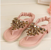 Wholesale 2013 Children Girls Princess Style Sequins Sandals Rose Rhinestone Festival Child Shoes Pink Beige Summer Party Wears B2022