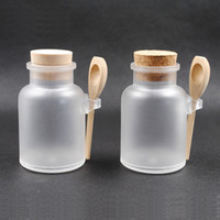 plastic bottles and containers - 200ml Refillable Plastic Makeup Bottle Face Cream Containers with Wooden Lids and Spoon Skin Care Tools DC706