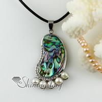 Pendant Necklaces abalone jewlery - foot round rainbow abalone shell rhinestone freshwater pearl necklaces pendants Handmade jewelry Mop60069 high fashion jewlery
