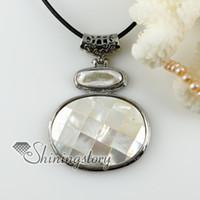 remiendo oval blanco ostra shell arco iris abalone shell collares de perlas de agua dulce colgantes collar china barata moda joyería