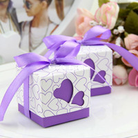 Wholesale 50pcs Purple Heart Love Cutouts Boxes Wedding Favors Baby Shower Square Boxes With Ribbons