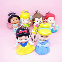 Multicolor PVC Key Wholesale - EMS High Quality PVC Princess Keychain Tinkerbell doll toy 6 pcs Collection Figure Key Chain for making necklaces Retail