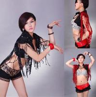 achat en gros de gilet rouge pour-Livraison gratuite Nightclub Dance Singer LADYGAGA glands Sequins Vest Waistcoat DS Costumes Hip-Hop Jazz Stage Wear vêtements, noir / rouge