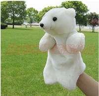 Wholesale On Sale Cartoon Plush White Polar Bear Adult Hand Finger Glove Puppet Dolls Toy Best Christmas Education Gift For Kids Length CM