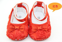 Wholesale Mary Jane Baby Shoes Infant Shoe Girls Toddler Soft Sole with Flowers pair Hot sale