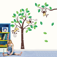 Removable green leaves - Large Tree with Green Leaves and Naughty Monkey Cartoon Wall Decor Decals and Stickers for Children