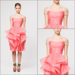 Wholesale Crystal Beaded Cap Sleeve Sexy Evening Dresses Pink Cascading Ruffle Organza Short Party Prom Dress Gowns No Sleeve Special Oc
