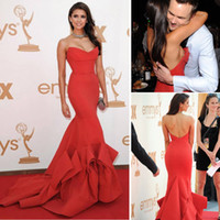 nina dobrev red dress - 2014 New Arrival Nina Dobrev Mermaid Sweetheart Red Taffeta Evening Dresses Strapless Chapel Train Red Carpet Gowns Dhyz