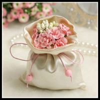 Wholesale Wedding Candy Bags with silk flowers Ribbon Pink Red Blue Purple Colors New European Style Wedding Gift Bags Favor Holders Wedding