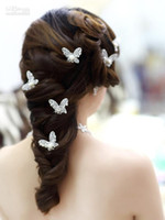 Clip & Pin Rhinestone/Crystal  Wholesale - The bride hair bright silver butterfly using Korean wedding Accessories diamond and pearl Tiaras & Hair Accessories
