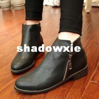 Wholesale Star of motorcycle boots fashion vintage brief street punk ankle boots double side zipper decoration ankle boots