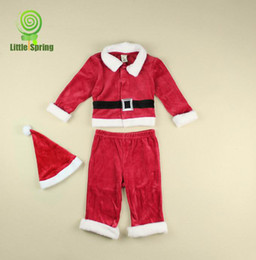 Wholesale 2013 new baby boy clothing velvet month baby christmas clothing set santa suit piece LZ T0134