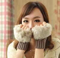 Wholesale 9 Colors Fashion Winter Gloves Mitts Finerless Plush Gloves Rabbit Fur Mitt Warm Knit Gloves ecar0673