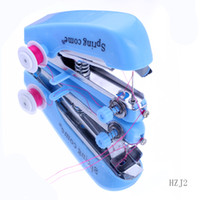 Wholesale Blue Mini Handheld Portable Clothes Fabrics Sewing Machine Sewing Tool HZJ2