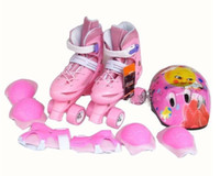Wholesale 4 wheels in stainless steel Roller Skates set chain wheel skates for children and adults pink blue red euro size