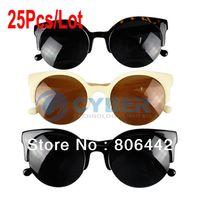 Wholesale New Unisex Designer Semi Rimless Super Round Circle Cat Eye Retro Sunglasses