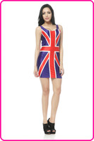 Wholesale mini U neck lady dress sleeveless club party dress sexy fashion Spring Summer Autumn sundress all match the union jack skirt TQ